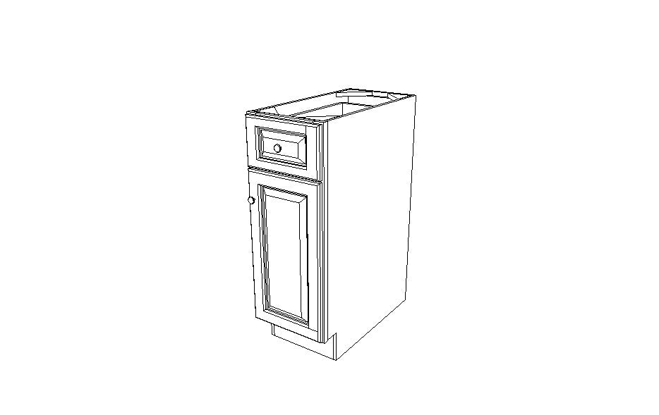 B12 Base Single Door Cabinet Ice White Shaker (AW)