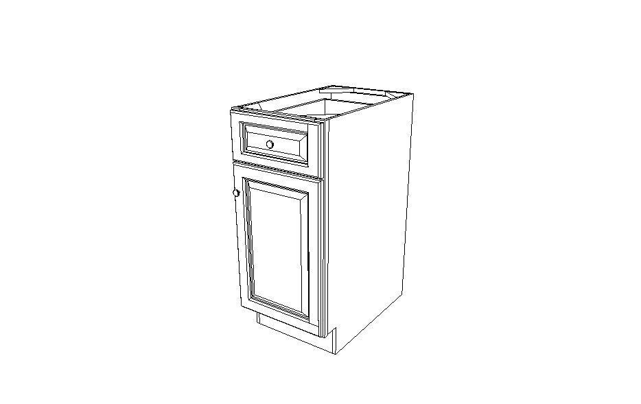 B15 Base Single Door Cabinet Gray Shaker (AG)