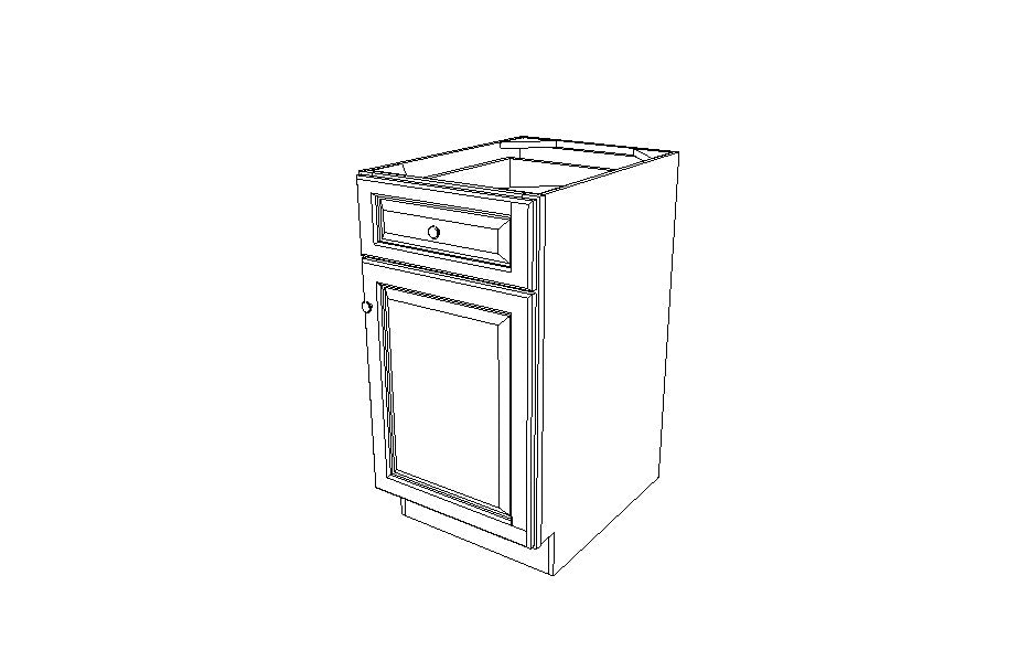 B18 Base Single Door Cabinet Gray Shaker (AG)
