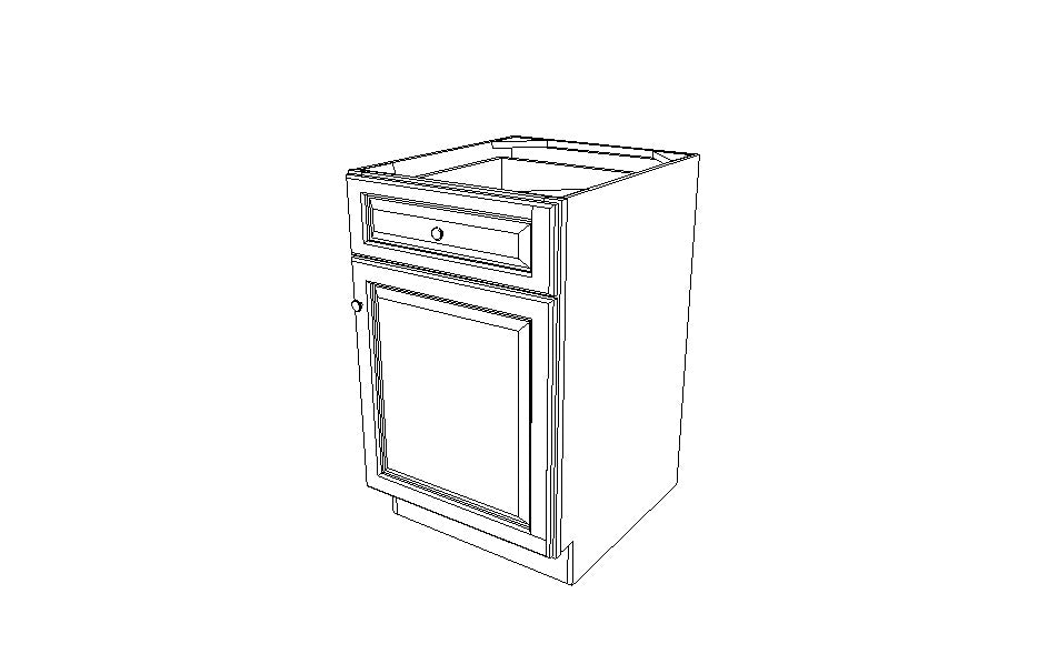B21 Base Single Door Cabinet Gray Shaker (AG)