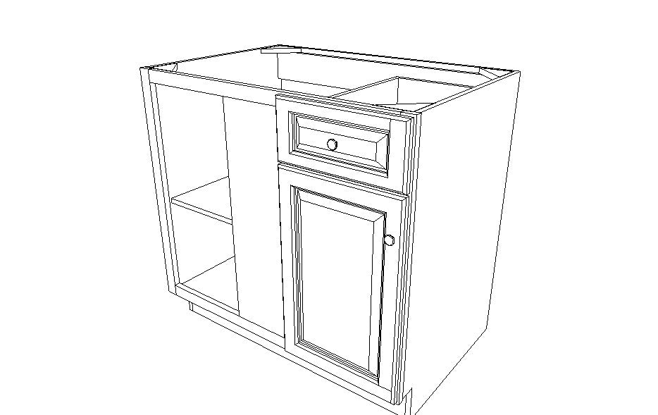"BBLC39/42 R-36""W Base Blind Corner Cabinet Ice White Shaker (AW)"