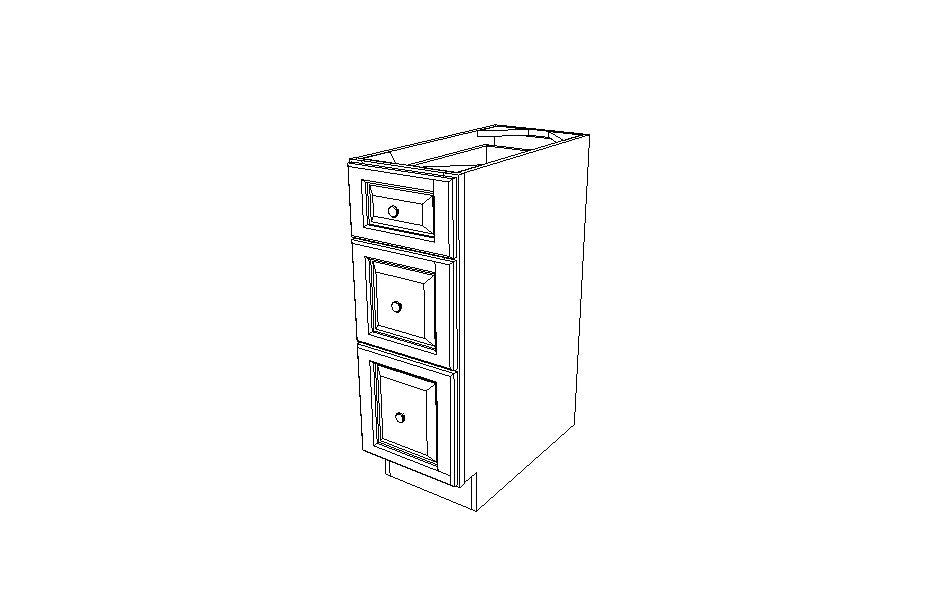 DB12(3) Drawer Base Cabinet Ice White Shaker (AW)