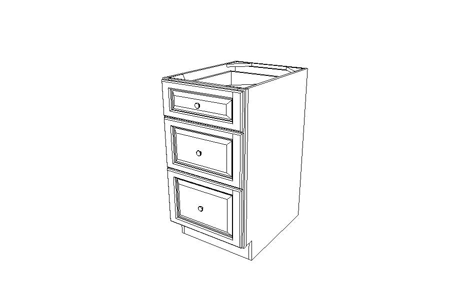 DB18(3) Drawer Base Cabinet Uptown White (TW)