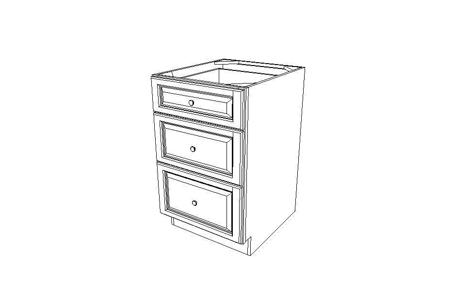 DB21(3) Drawer Base Cabinets Gray Shaker (AG)