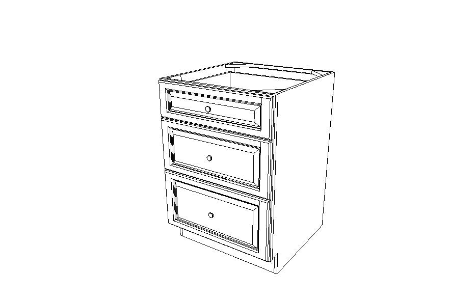 DB24(3) Drawer Base Cabinets Ice White Shaker (AW)