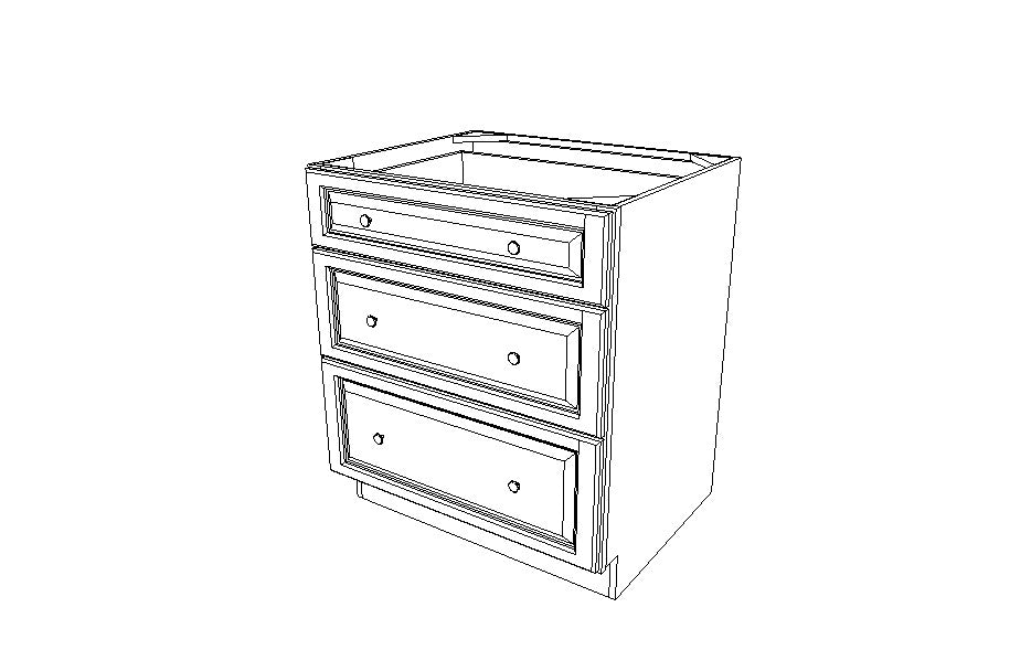 DB30(3) Drawer Base Cabinets Ice White Shaker (AW)