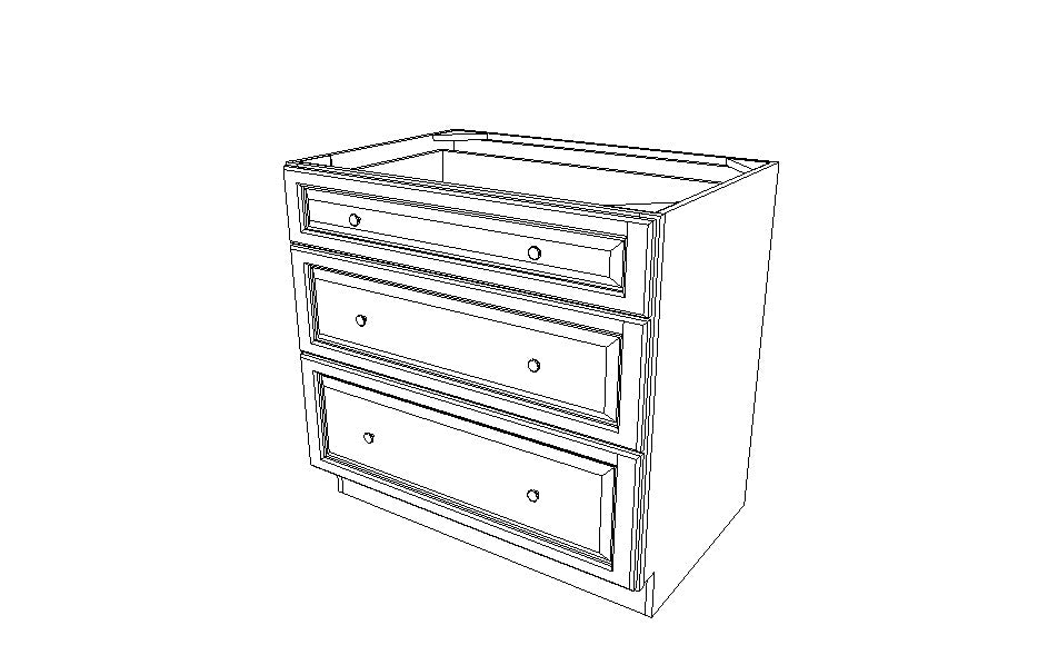 DB36(3) Drawer Base Cabinets Ice White Shaker (AW)
