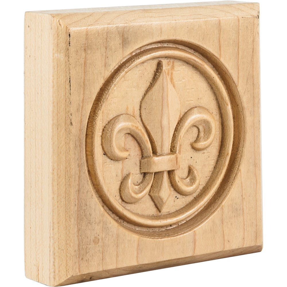 Fleur-de-Lis Rosette-Unfinished (Rubberwood)