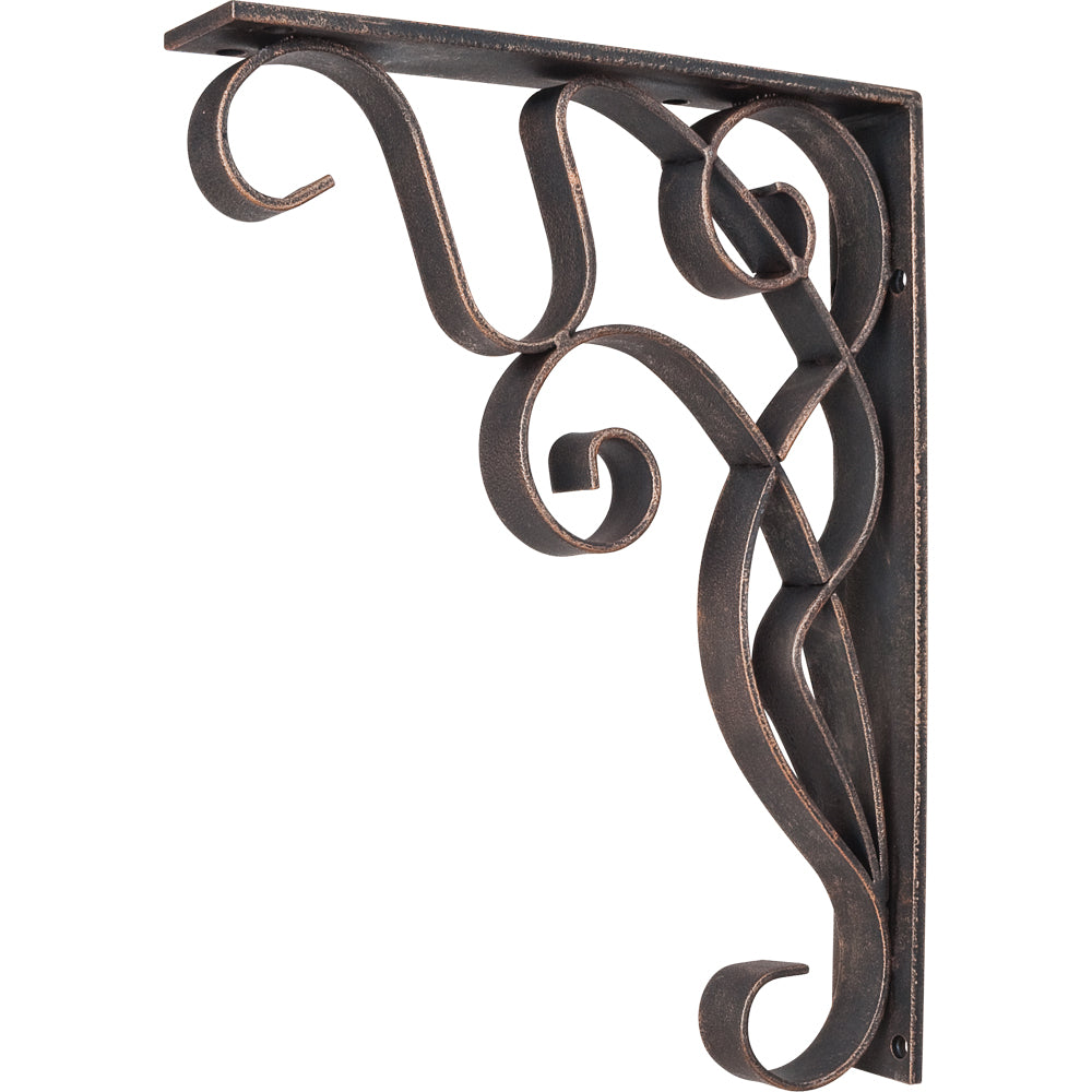 Metal (Iron) Art Nouveau Bar Bracket-Brushed Oil Rubbed Bronze (Steel)