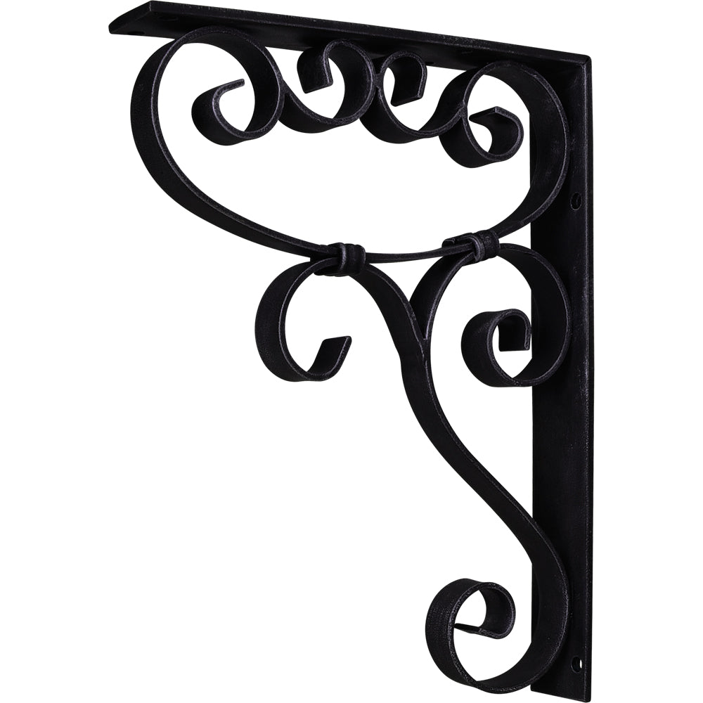 Metal (Iron) Scrolled Bar Bracket with Knot Detail-Black (Steel)