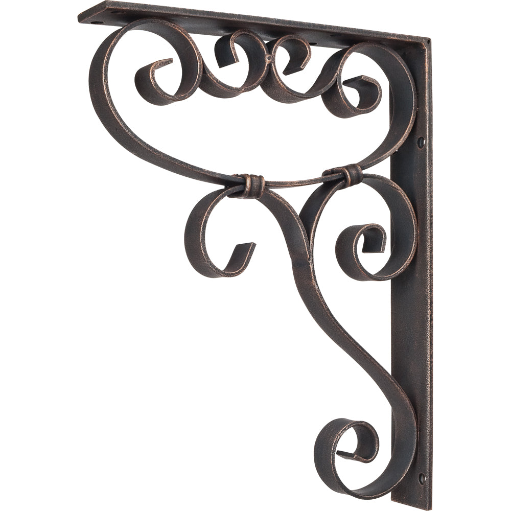 Metal (Iron) Scrolled Bar Bracket with Knot Detail-Brushed Oil Rubbed Bronze (Steel)