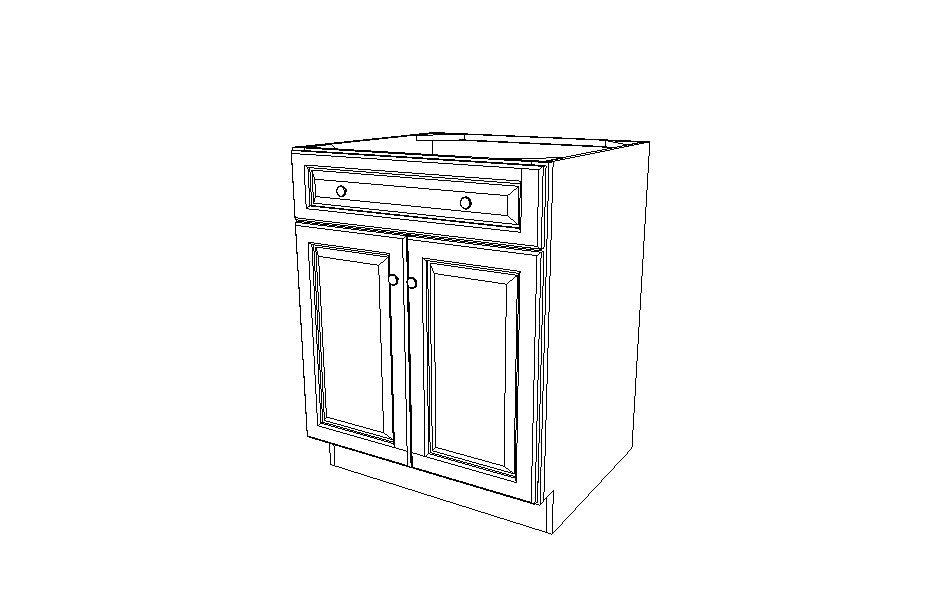 B27B Base Double Door Cabinet Gray Shaker (AG)