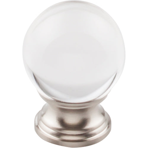 Clarity Clear Glass Round Knob 1 3/16in.  Brushed Satin Nickel Base