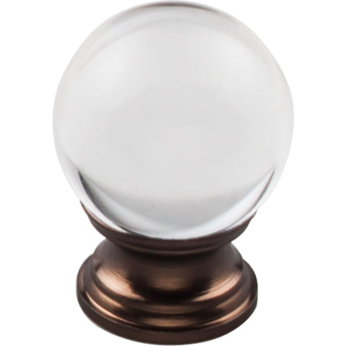 Clarity Clear Glass Round Knob 1 3/16in.  Oil Rubbed Bronze Base