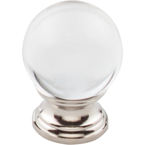 Clarity Clear Glass Round Knob 1 3/16in.  Polished Nickel Base