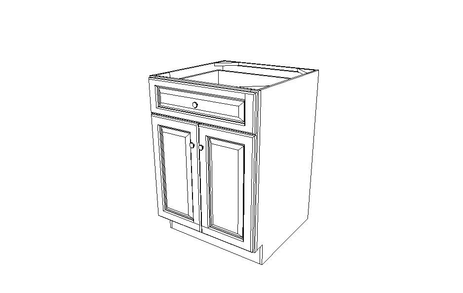 B24B Base Double Door Cabinet Gramercy White (GW)