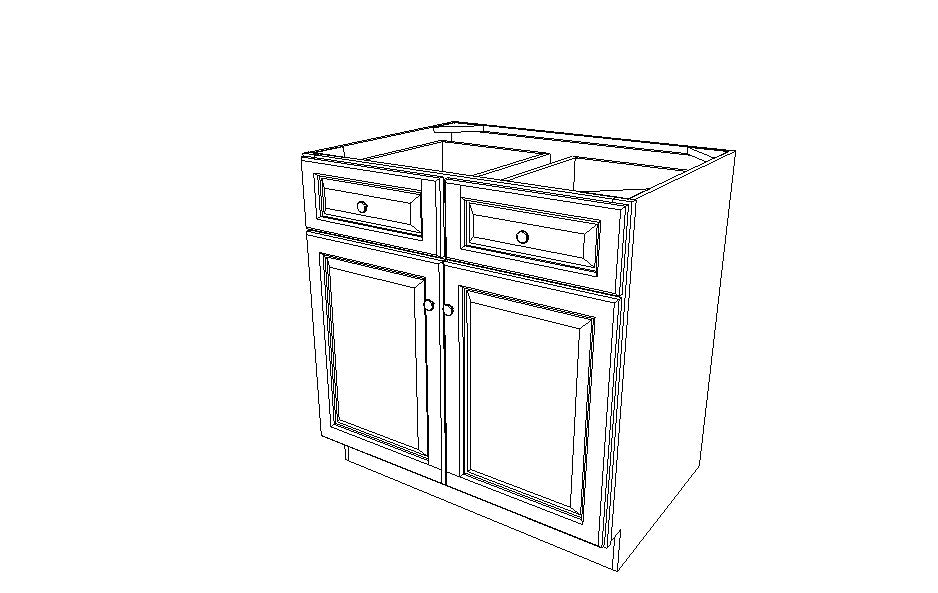 B33B Base Double Door Cabinet Ice White Shaker (AW)