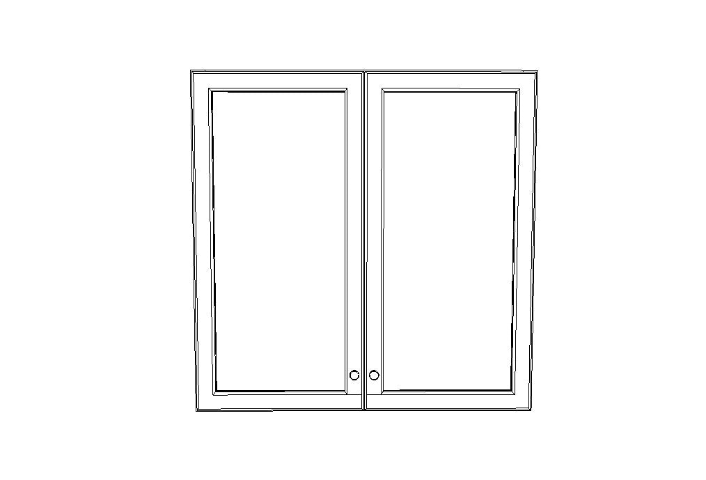 W3042BGD no Mullion Glass doors Gray Shaker (AG)