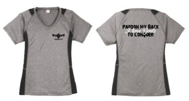 CF PARDON MY BACK V-Neck Tee - Heather/Black