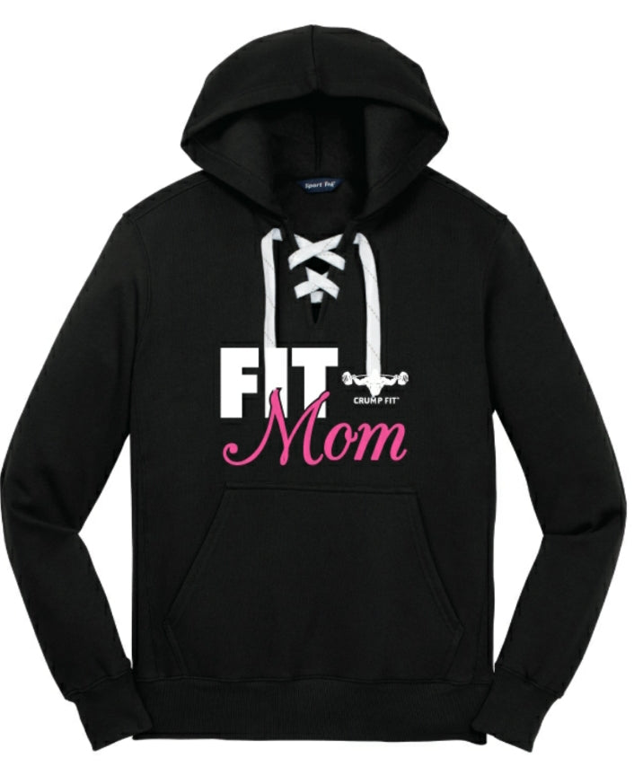 CF FIT MOM Lace up Hooded Pullover - Black/White/Pink