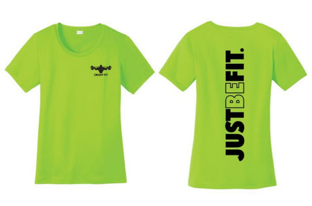 CF JUST BE FIT Performance Scoop Neck Tee - Neon Green/Black