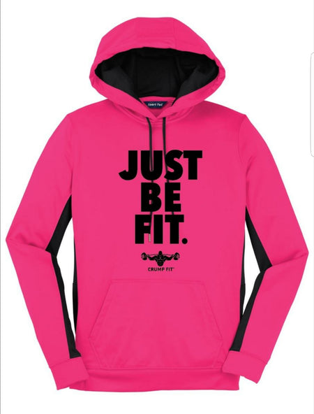 CF JUST BE FIT. Hooded Pullover - Neon Pink/Black