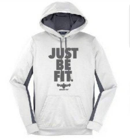 CF JUST BE FIT. Hooded Pullover - White/Grey