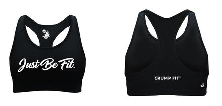 "CF ""JUST BE FIT."" Racerback Sport Bra - Black"