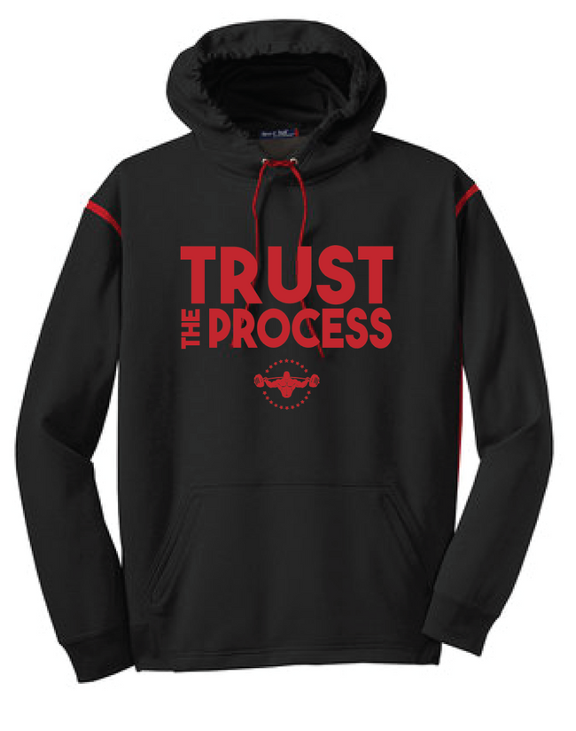 TRUST THE PROCESS Hooded Pullover - Black/Red