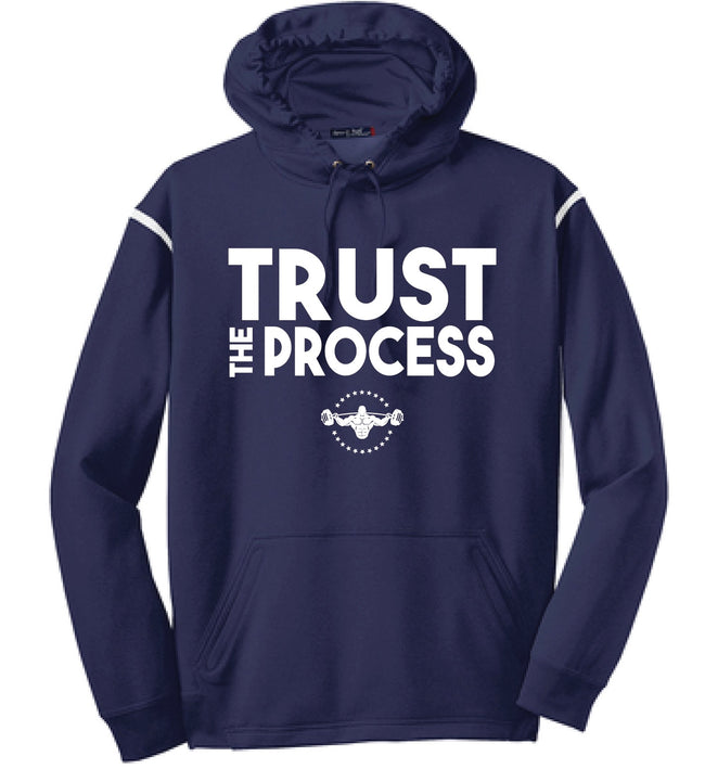 TRUST THE PROCESS Hooded Pullover - Navy/White