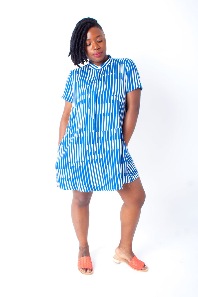 Dusen Dusen Oversize Tee Dress (Petite) - Blue Blinds