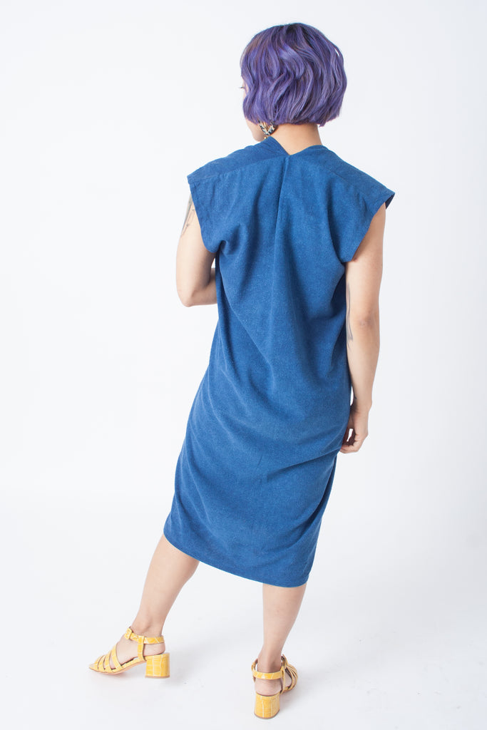 Everyday Dress by Miranda Bennett - petite exclusive in indigo silk noil
