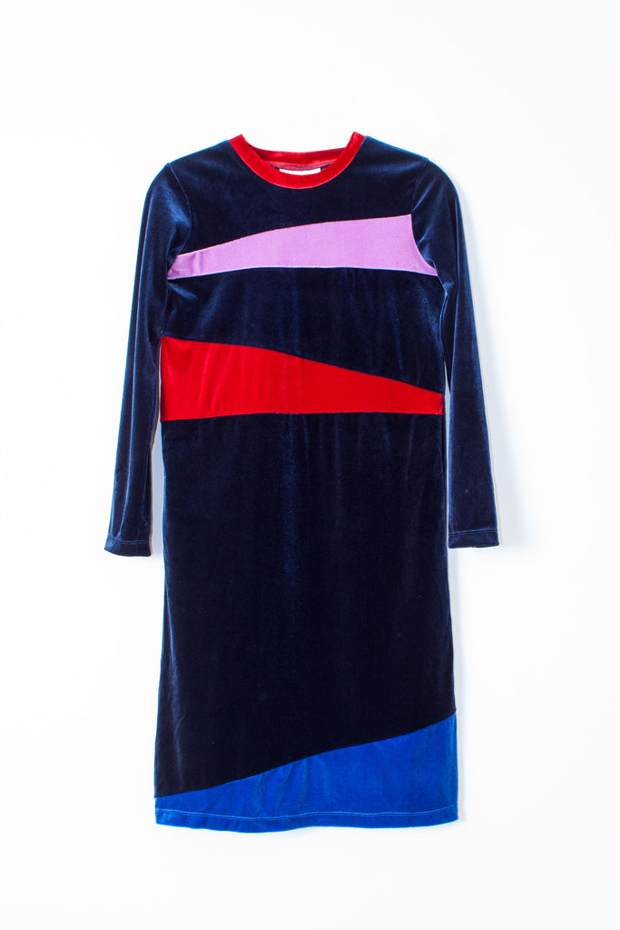 Carleen velvet long sleeve deep blue patchwork dress with red and lilac colorblocking