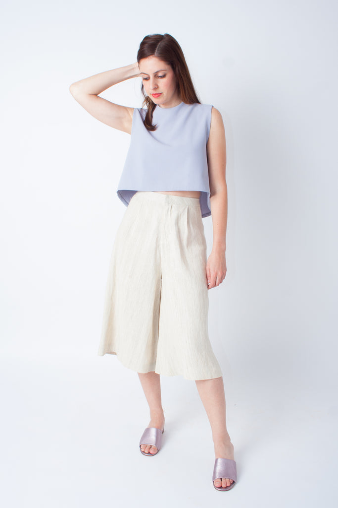 Kaarem Seaweed Wide Legged Crop Pant - Natural