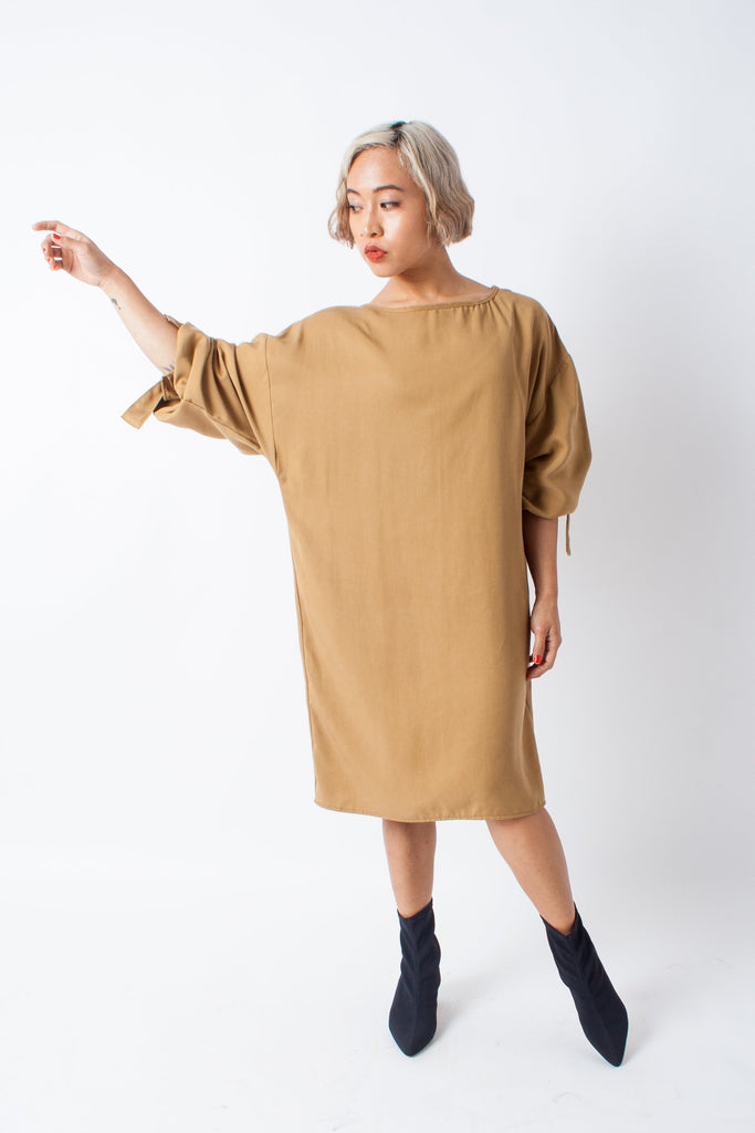 Hackwith Design House Arm Tie Smock Dress - Camel