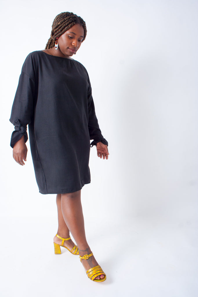 Hackwith Design House Arm Tie Smock Dress - Black