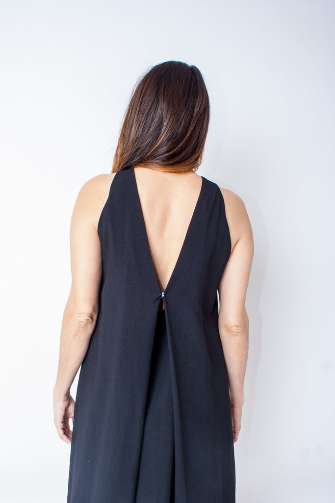 Kaarem Radial V Back Dress - Black
