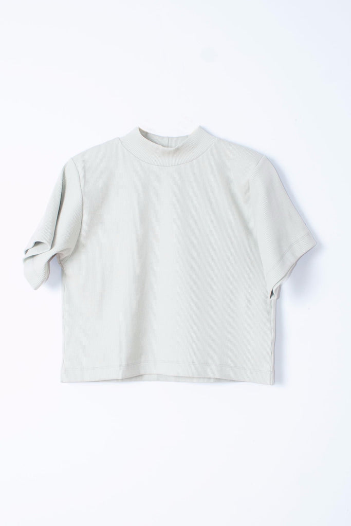 Ilana Kohn Susie Top in Bone or off white - ribbed jersey mock neck with wide short sleeve