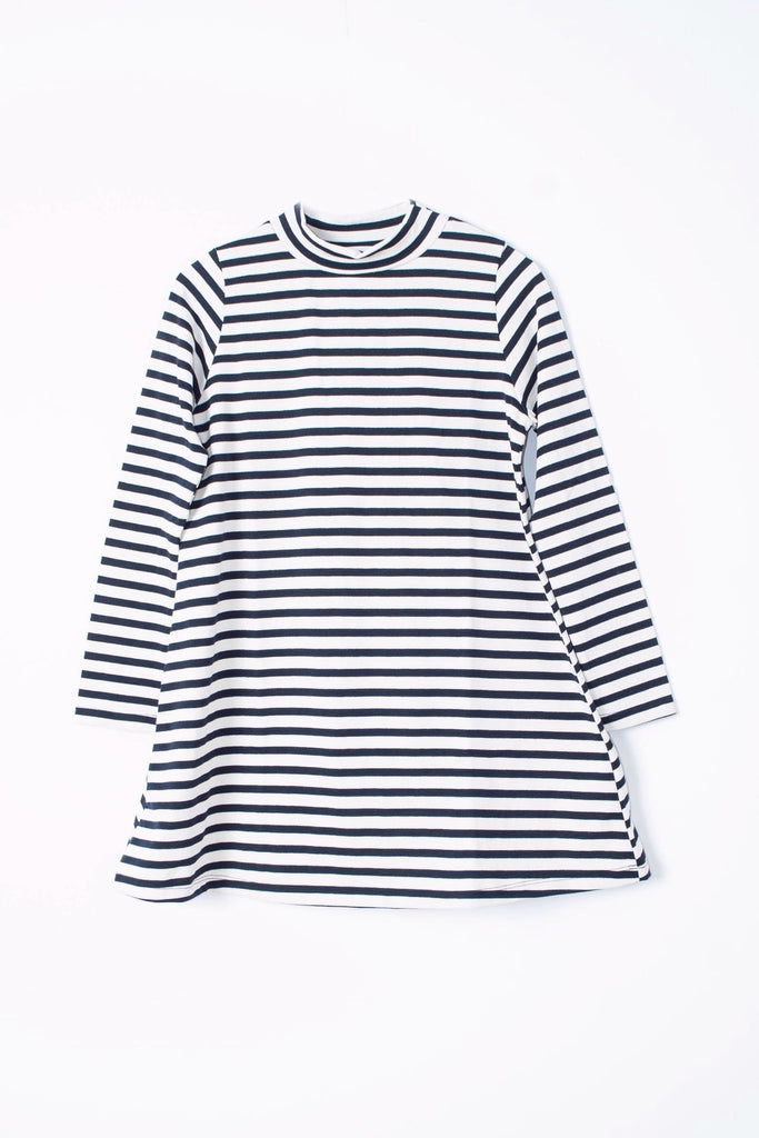 Loup Franc mini shift dress in navy and white stripe with a mockneck and petite sizing
