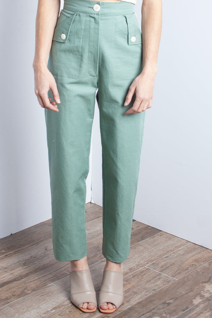 Ilana Kohn Huxie Pant in Jade - (Petite) - available at staturenyc.com