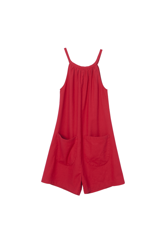 Carleen, Bart romper, Red, pockets, short, adjustable