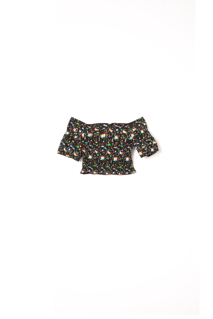 Rachel Antonoff, Lou Shirred Off the Shoulder Top, cropped black top with vivid pattern - The Girls Are Back in Town