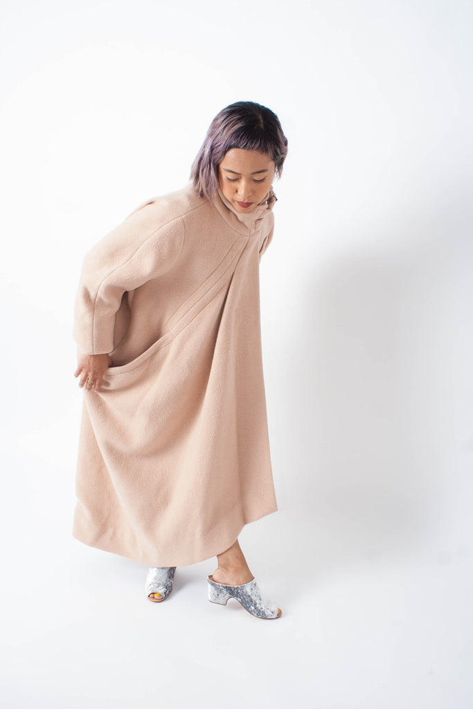 Rachel Comey Rosa Coat cocoon style in blush wool blend and collar buckles