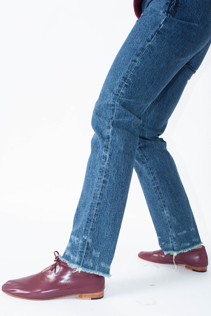 Rachel Comey high-rise, slim-fit, straight leg, raw hem The Fletcher Jean in Indigo with Martiniano bootie