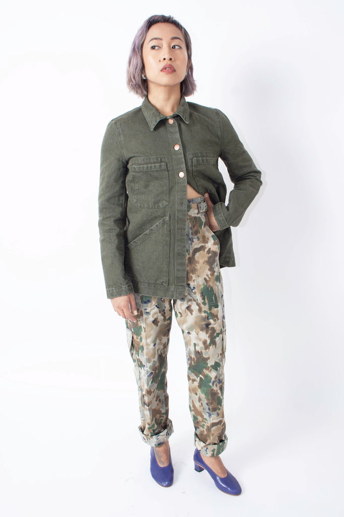 Rachel Comey Roam Pant in camo print with waist buckles