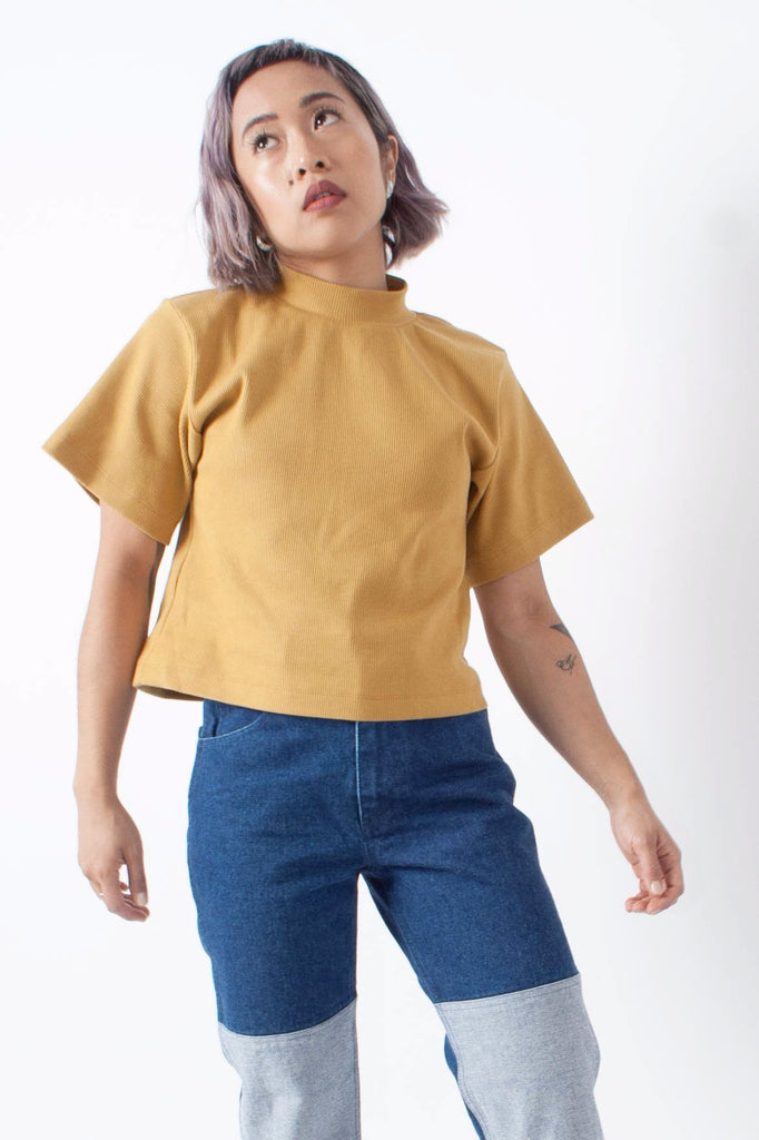 Ilana Kohn Susie Top in Brass or yellow - ribbed jersey mock neck with wide short sleeve