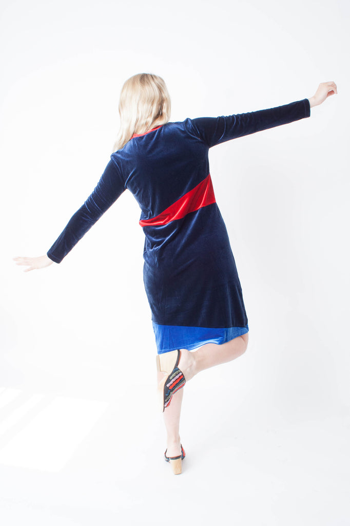 Carleen velvet long sleeve deep blue patchwork dress with red and lilac colorblocks paired with Carleen velvet long sleeve deep blue patchwork dress with red and lilac color block paired with Rachel Comey embroidered Dahl mule