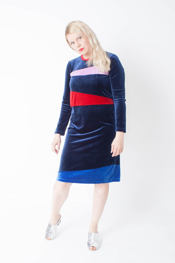 Carleen velvet long sleeve deep blue patchwork dress with red and lilac colorblocking.