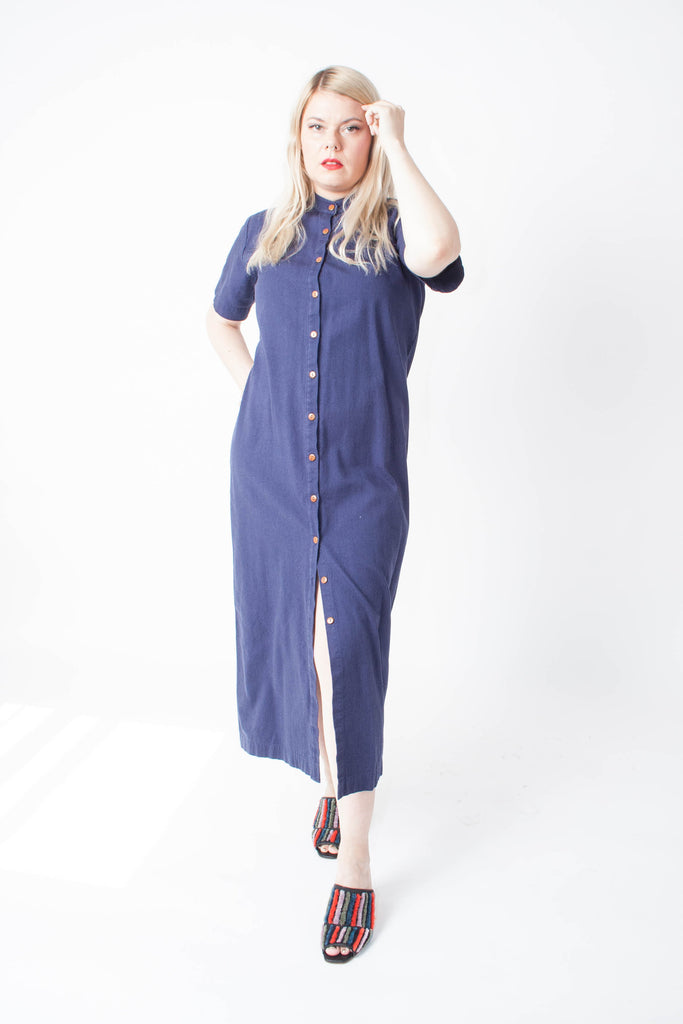 Ilana Kohn short-sleeved Gigi Dress in Marine Blue in an ankle-length light Cotton Canvas with a Mandarin collar and wood buttons