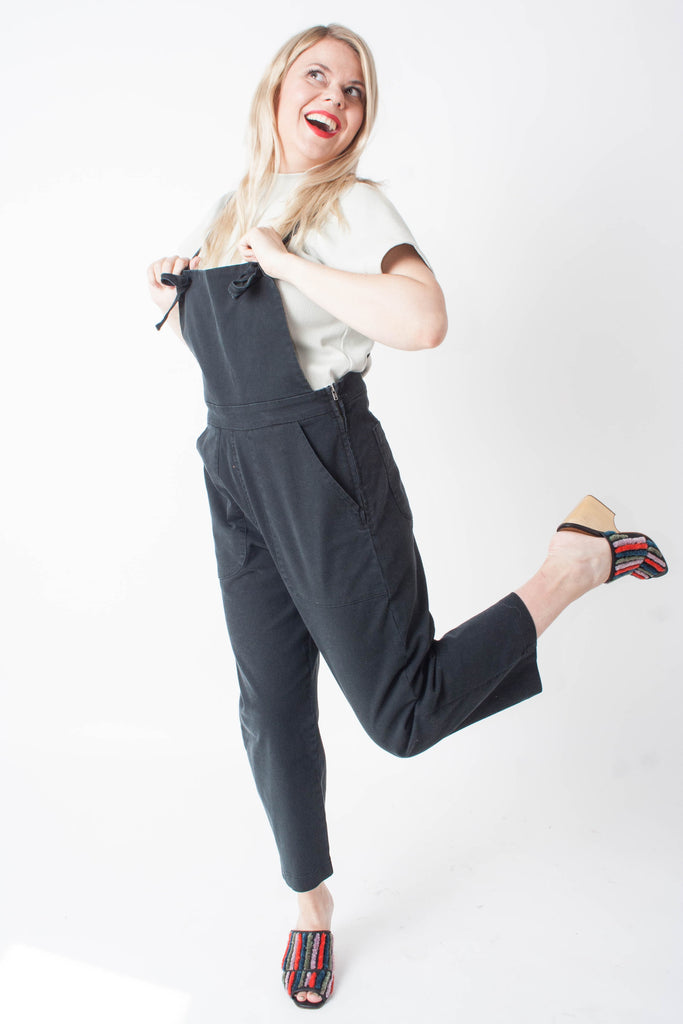 Loup Black stretch twill denim overalls with adjustable tie straps - petite sized